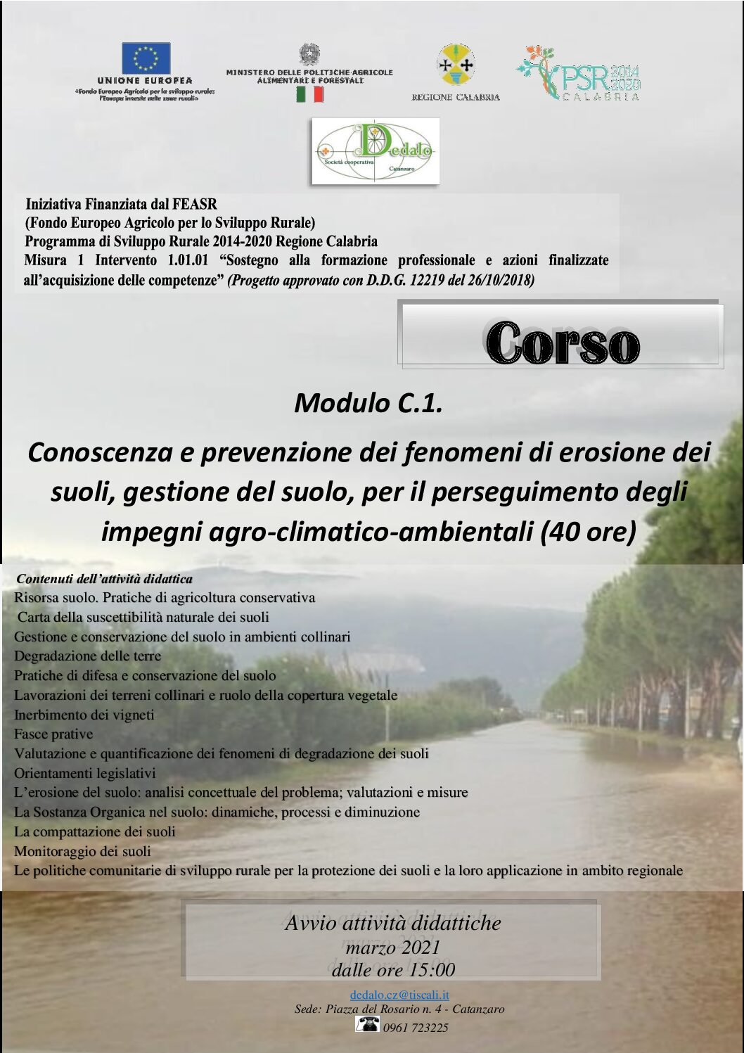 Corso. Conoscenza e prevenzione dei fenomeni di erosione (40 ore)