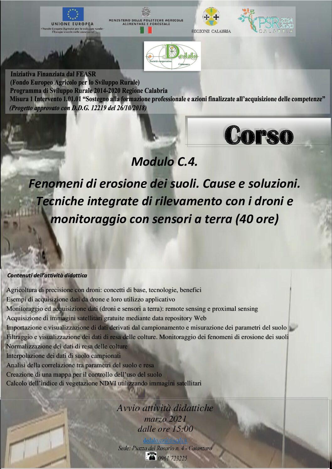 Modulo C.4. Fenomeni di erosione dei suoli. Cause e soluzioni. (40 ore)