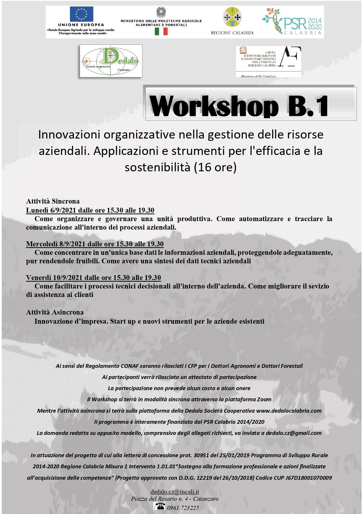 WORKSHOP B.1. Innovazioni organizzative nella gestione delle risorse aziendali. Applicazioni e strumenti per l'efficacia e la sostenibilità – 16 ore