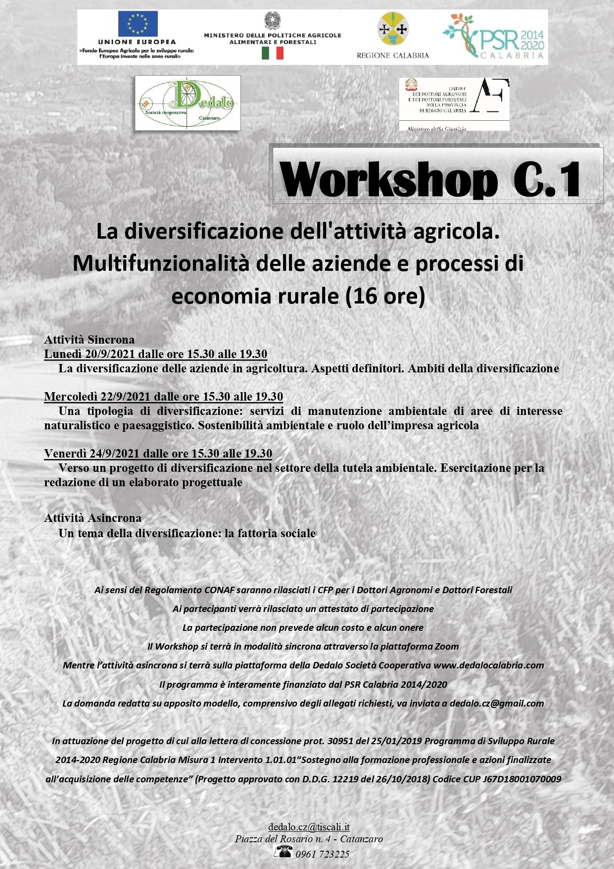 WORKSHOP C.1 La diversificazione dell'attività Agricola. Multifunzionalità delle aziende e processi di economia rurale (16 ore)