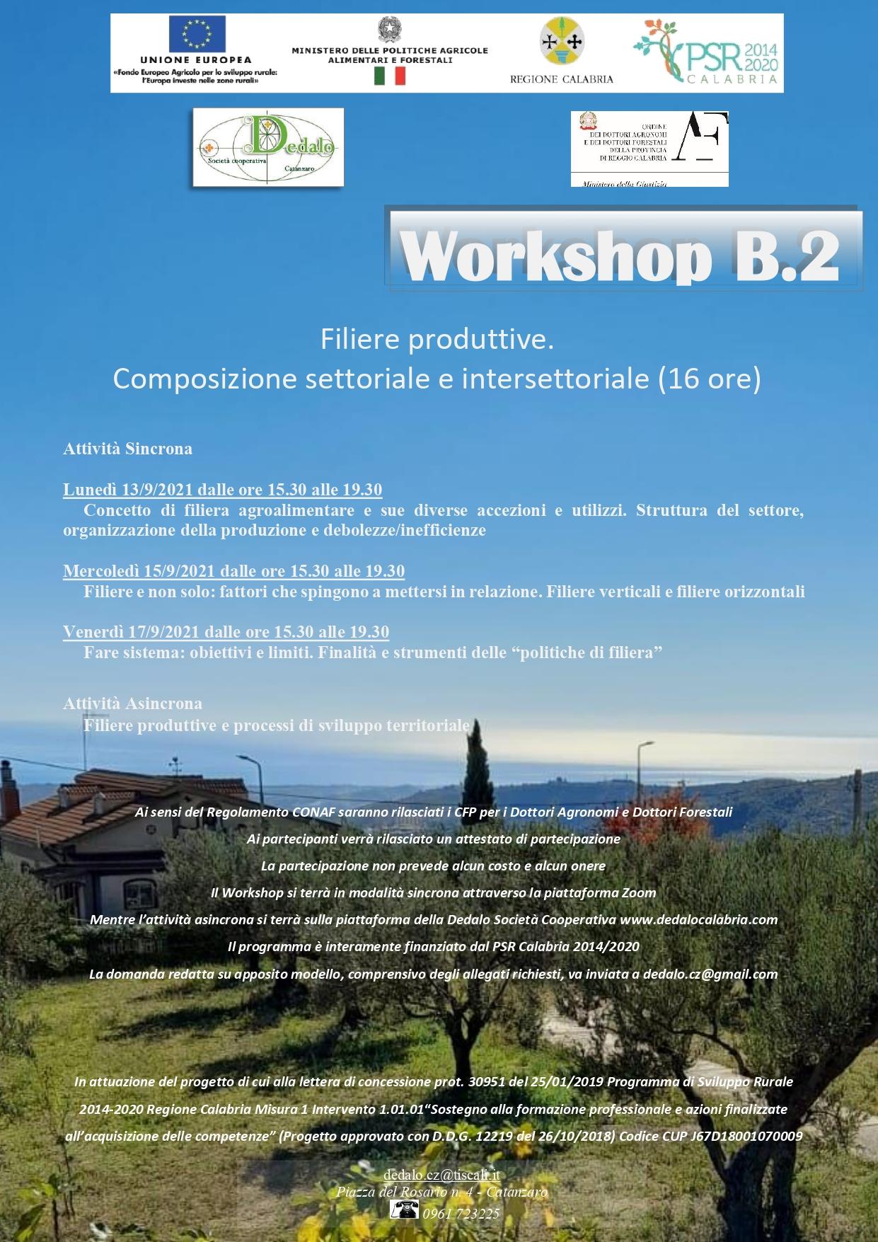 WORKSHOP B.2 Filiere produttive. Composizione settoriale e intersettoriale